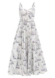 Emilia Wickstead Elita boat-print cotton-poplin midi dress