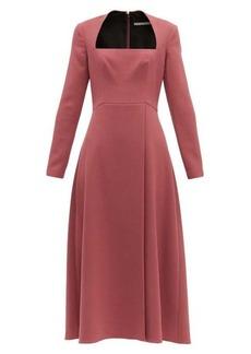 Emilia Wickstead Glenda square-neckline wool-crepe midi dress