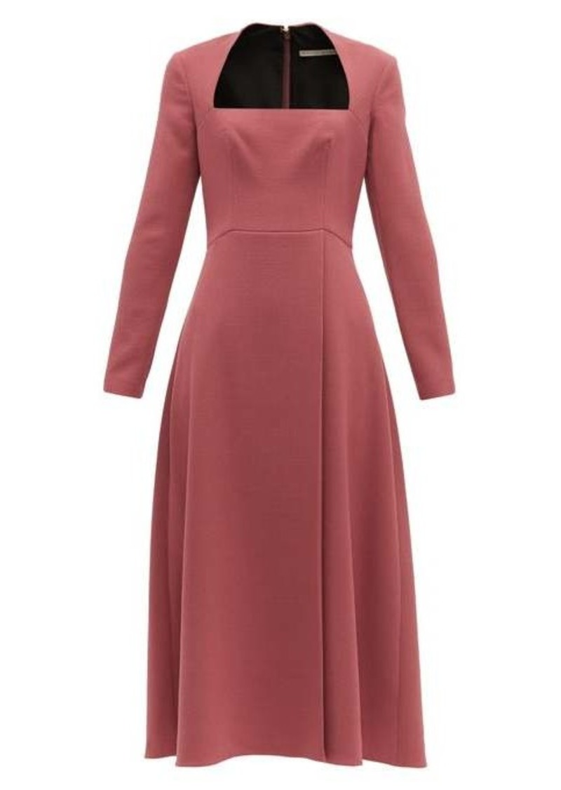 Emilia Wickstead Glenda square-neckline wool-crepe midi dress