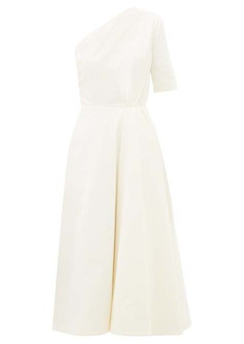 Emilia Wickstead Jenna one-shoulder cotton-velvet midi dress