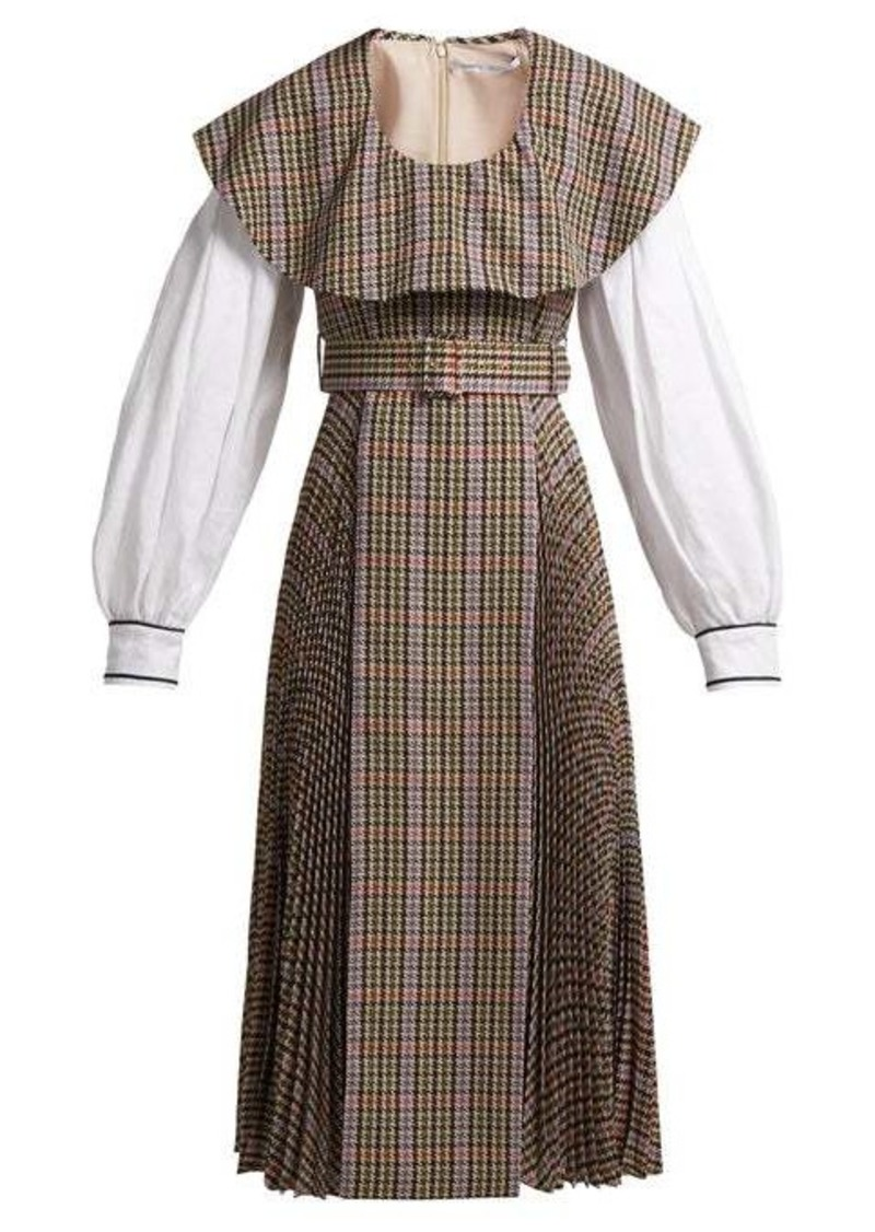 Emilia Wickstead Kevin pleated houndstooth crepe-lined dress