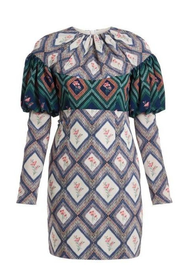 Emilia Wickstead Lavinia tapestry-print gathered crepe mini dress