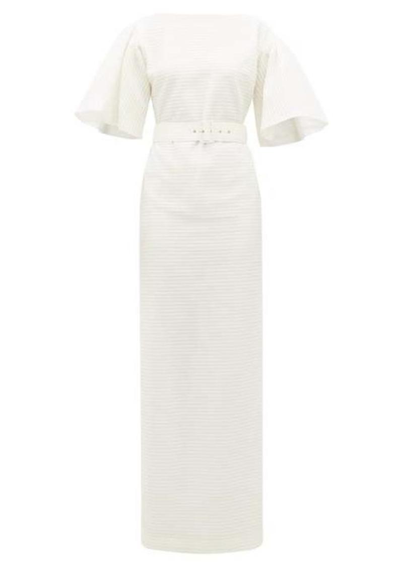 Emilia Wickstead Lilia belted seersucker-organza maxi dress
