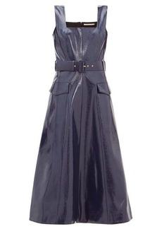 Emilia Wickstead Petra belted leather-effect midi dress