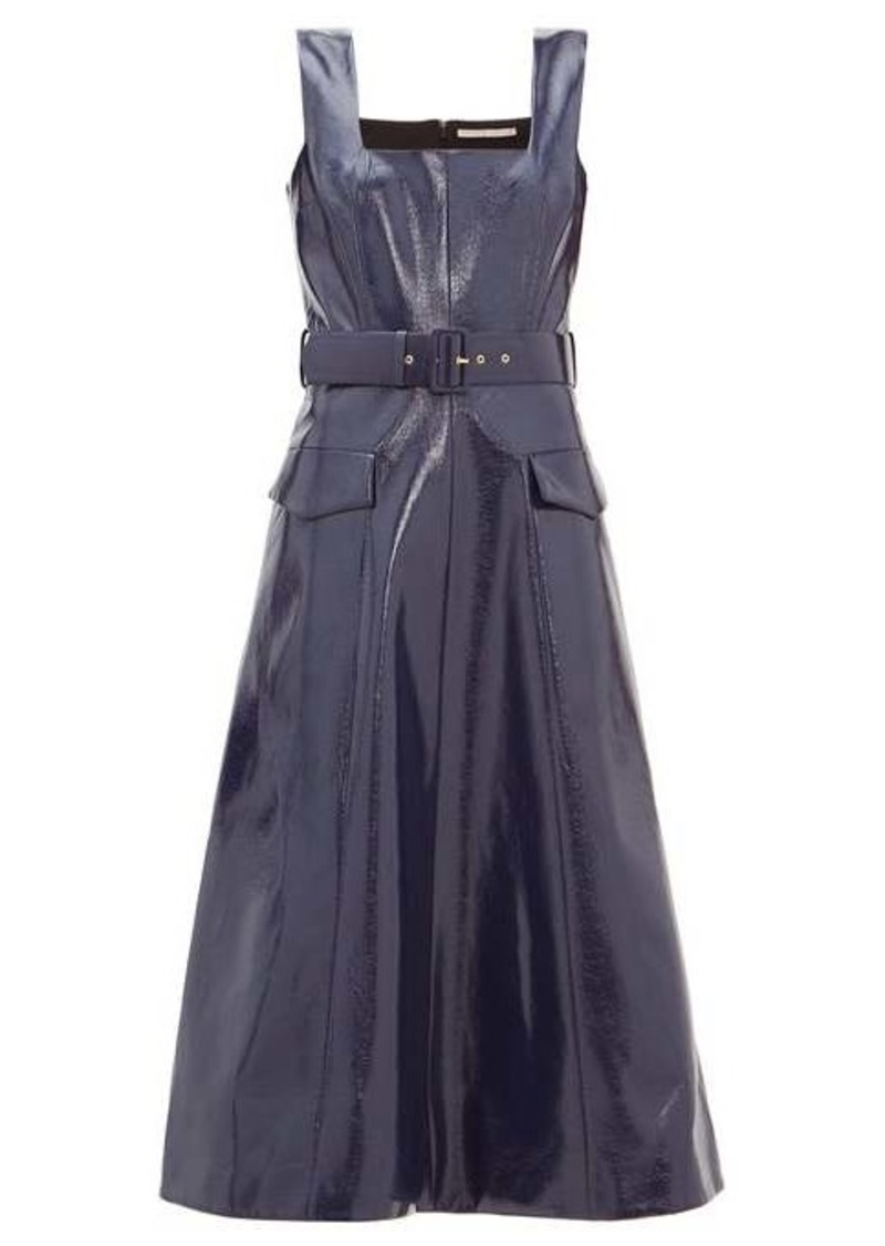 Emilia Wickstead Petra vinyl faux-leather belted midi dress