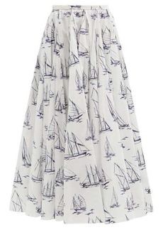 Emilia Wickstead Rhea boat-print cotton-poplin A-line skirt