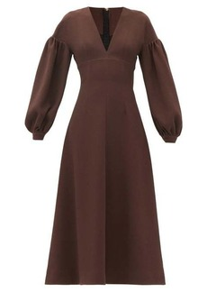 Emilia Wickstead Tiege baloon-sleeve wool-crepe midi dress