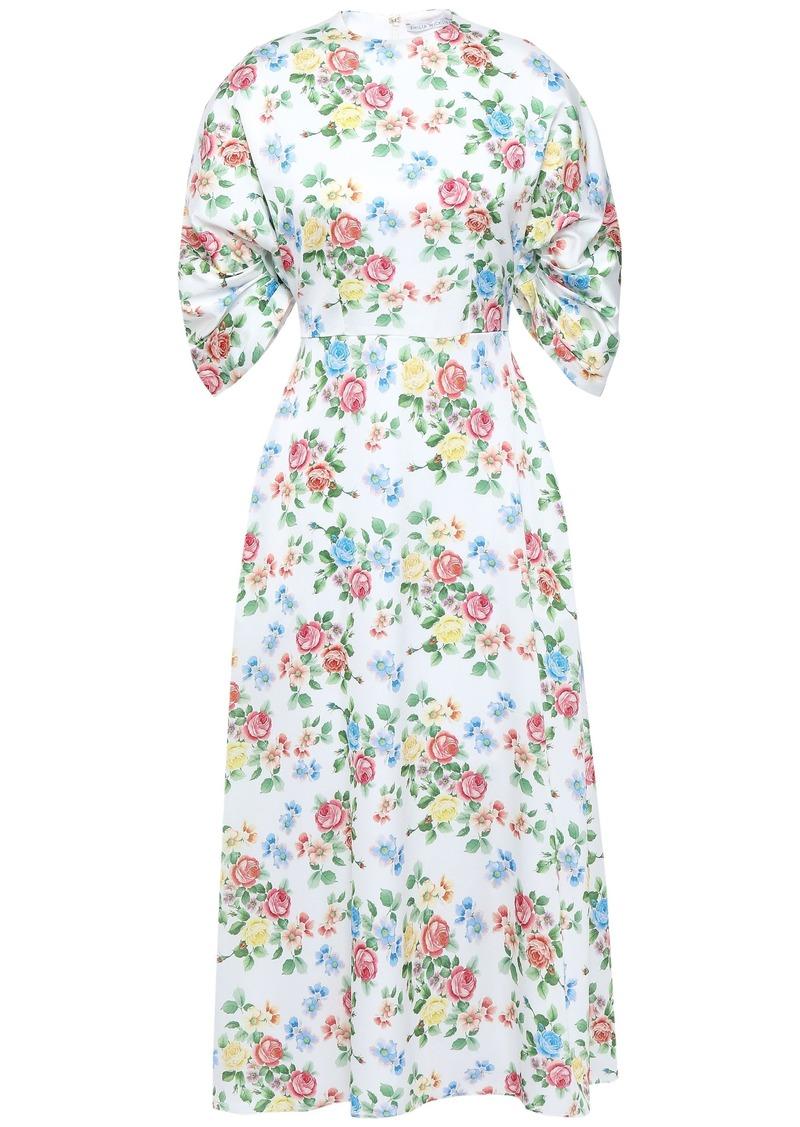 Emilia Wickstead Woman Carmen Floral-print Hammered-satin Midi Dress White
