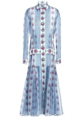 Emilia Wickstead Woman Dani Floral-print Silk-organza Midi Shirt Dress Light Blue