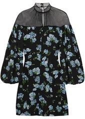Emilia Wickstead Woman Femie Mesh-paneled Floral-print Crepe Mini Dress Black