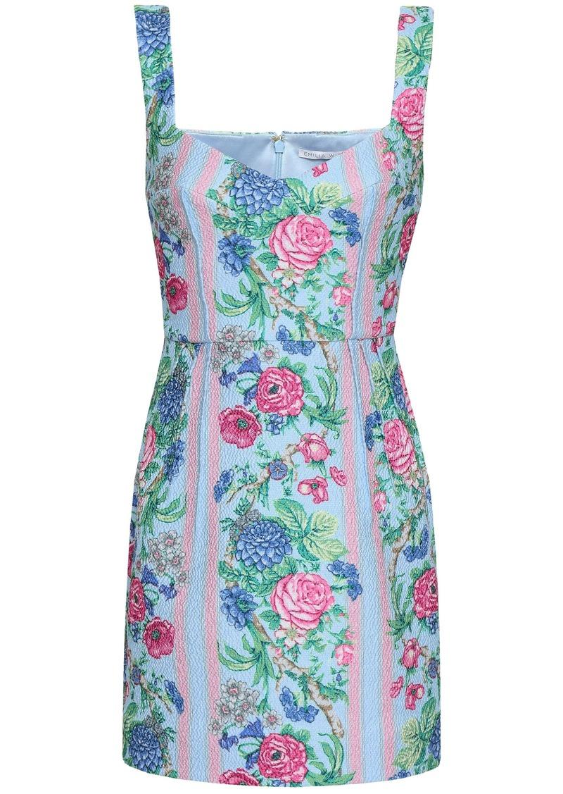 Emilia Wickstead Woman Judita Floral-print Cloqué Mini Dress Light Blue