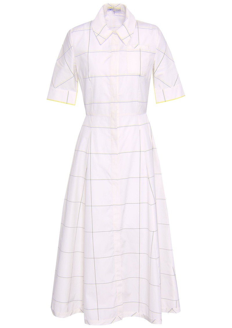 Emilia Wickstead Woman Flared Checked Cotton-poplin Midi Shirt Dress Off-white