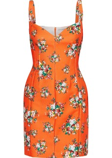 Emilia Wickstead Woman Fyfe Floral-print Cloqué Mini Dress Bright Orange
