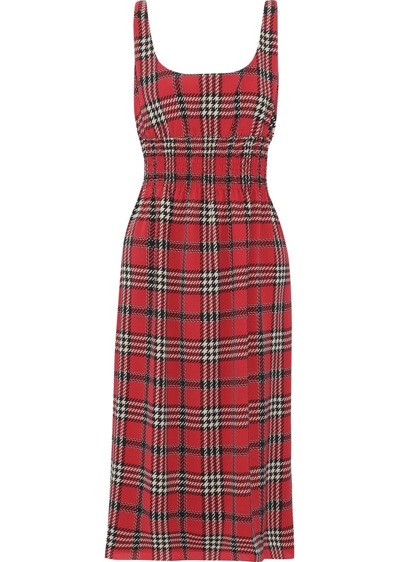 Emilia Wickstead Woman Giovanna Shirred Checked Crepe De Chine Midi Dress Red