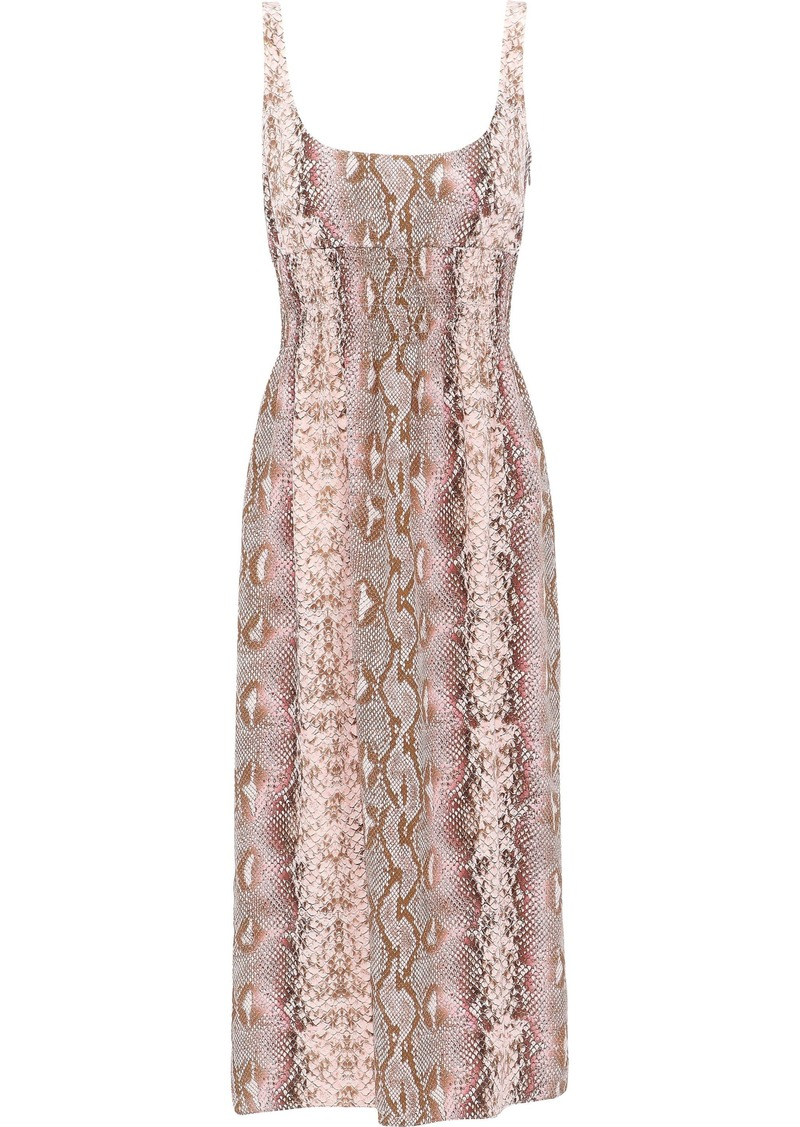 Emilia Wickstead Woman Giovanna Shirred Snake-print Silk Crepe De Chine Midi Dress Animal Print