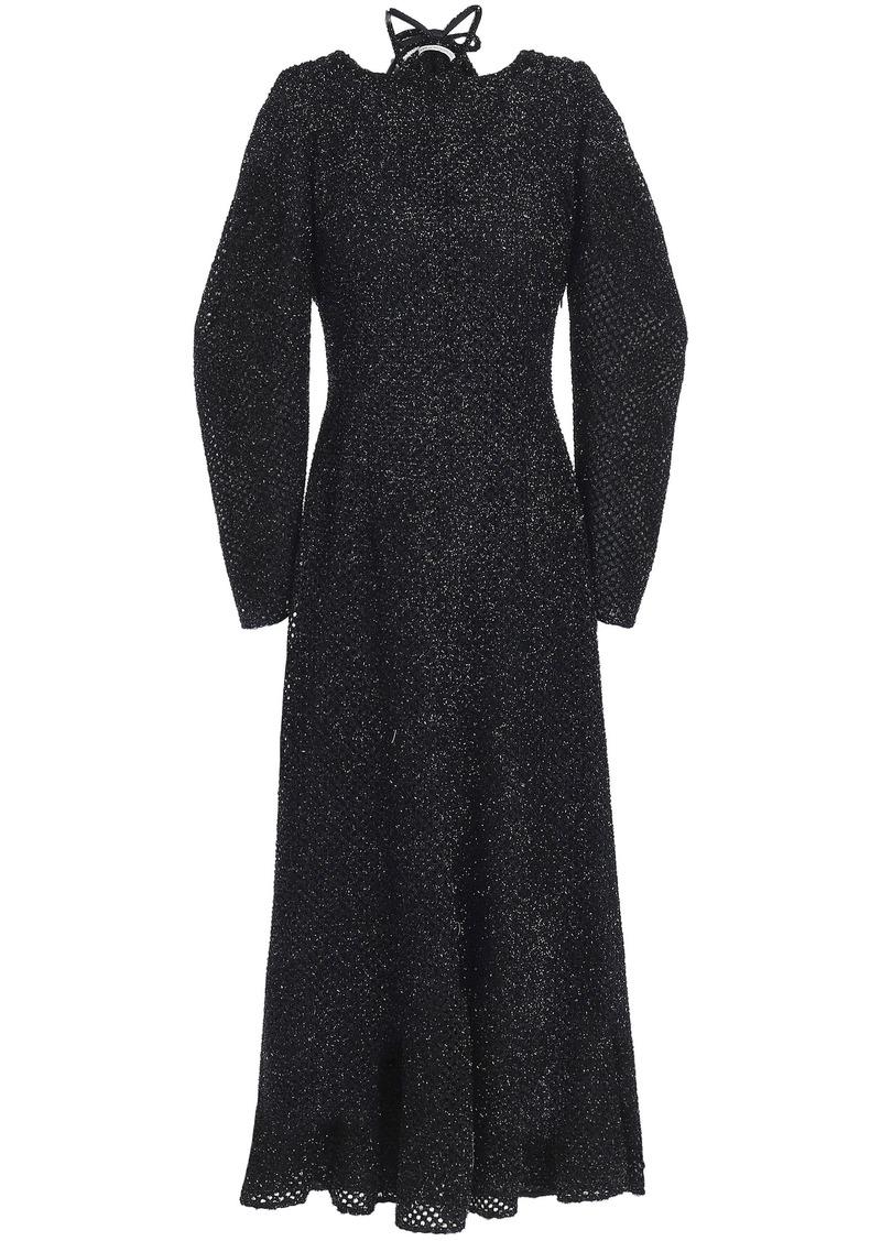 Emilia Wickstead Woman Kieran Draped Metallic Fil Coupé Chiffon Midi Dress Black