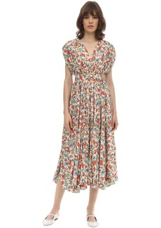 Emilia Wickstead Floral Print Silk & Wool Midi Dress