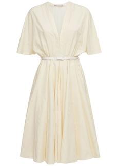 Emilia Wickstead Lilith Cotton Moiré V Neck Midi Dress