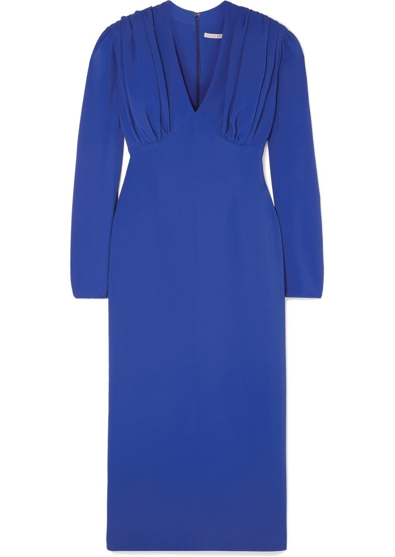 Emilia Wickstead Ruched Crepe Midi Dress