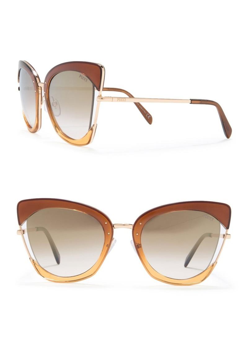 Emilio Pucci 55mm Modified Cat Eye Sunglasses