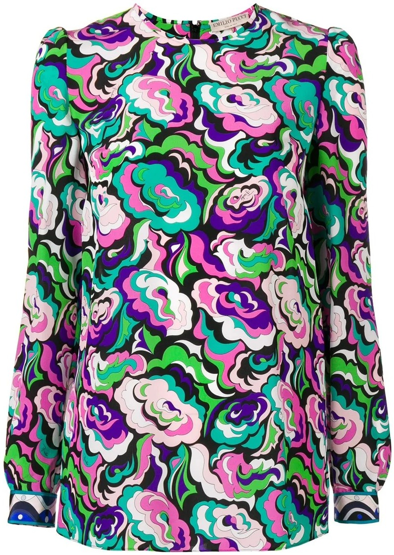 Emilio Pucci abstract floral longsleeved blouse