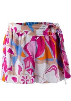 Emilio Pucci abstract print belted shorts