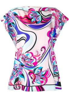 Emilio Pucci abstract print ruffled blouse