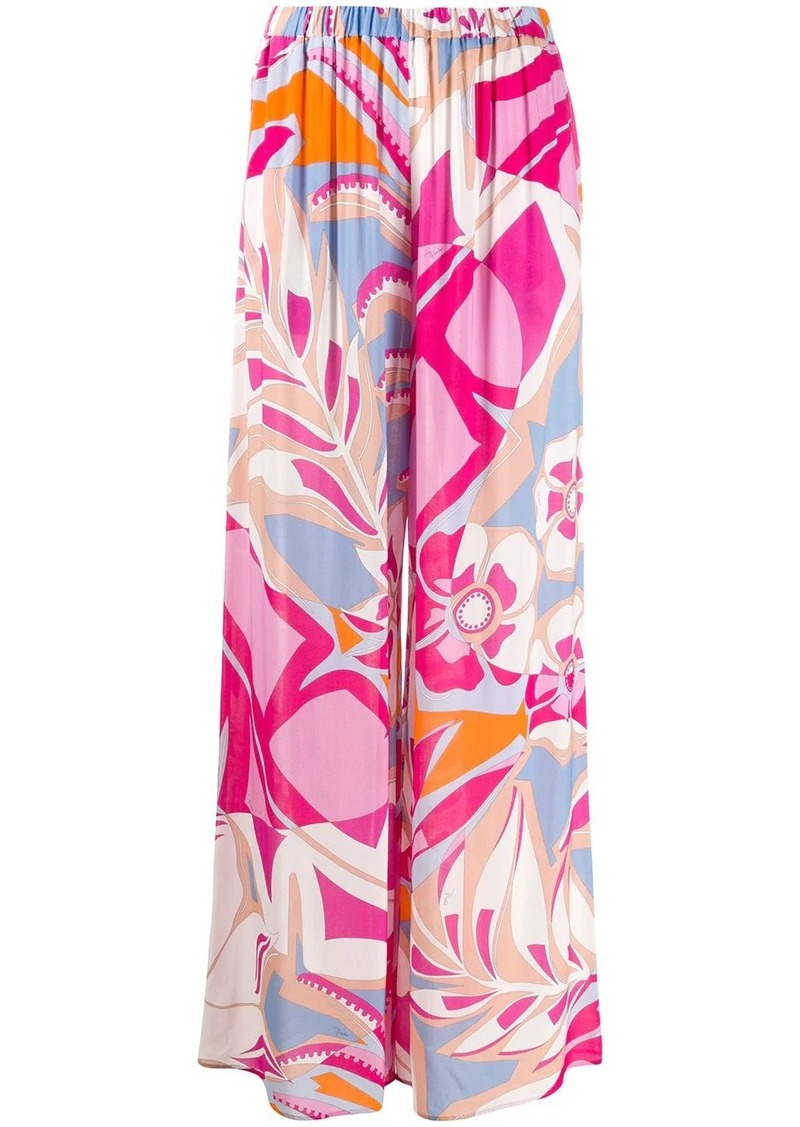 Emilio Pucci abstract print wide-leg trousers