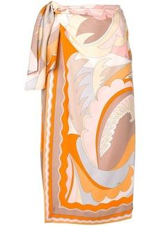 Emilio Pucci Acapulco Silk-twill Wrap Skirt