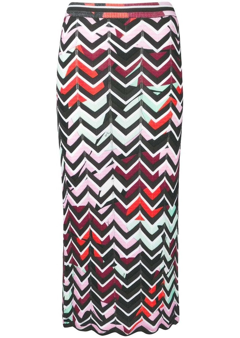 Emilio Pucci Alex Chevron-Knit Skirt