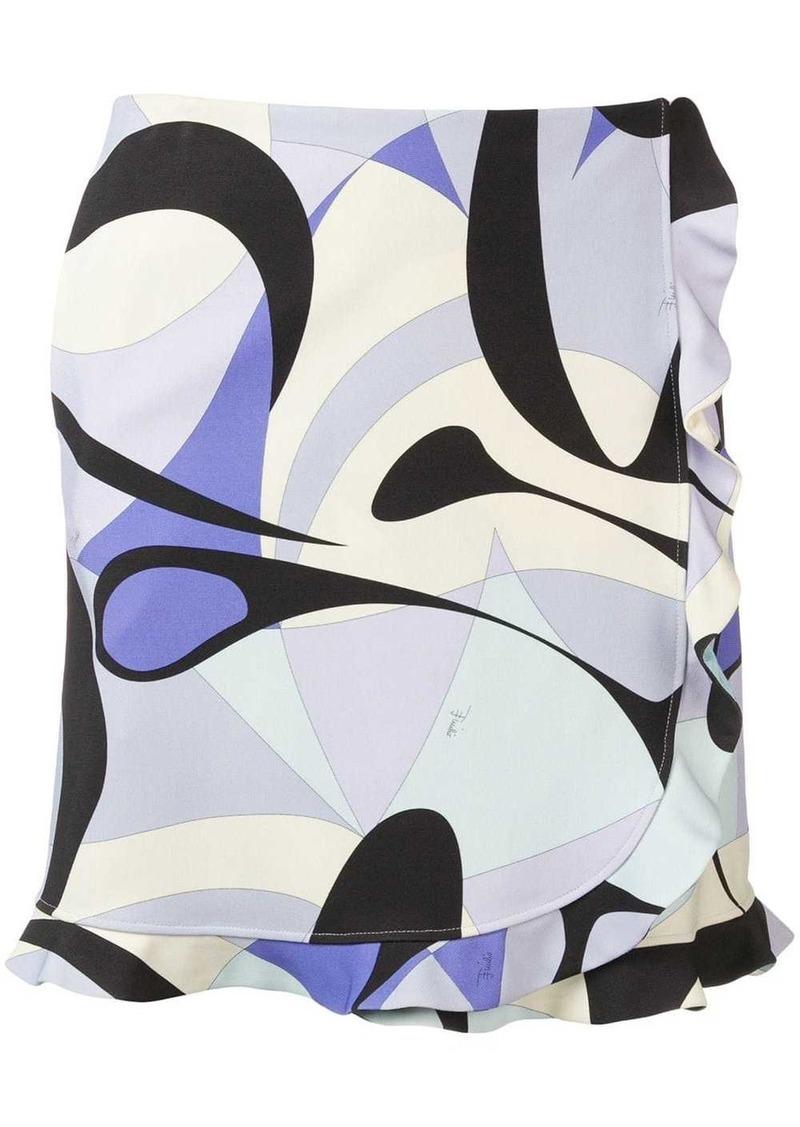 Emilio Pucci Alex Print Ruffle Trim Skirt