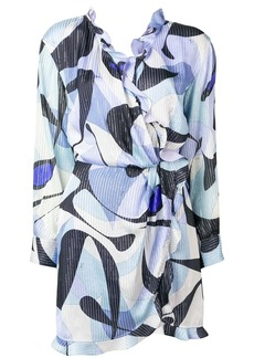 Emilio Pucci Alex Print Ruffled Crossover Dress