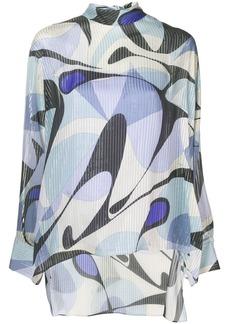 Emilio Pucci Alex Print Tie-Neck Silk Blouse