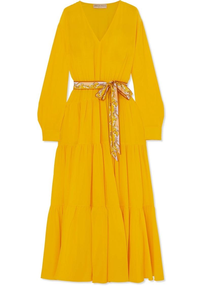 Emilio Pucci Belted Tiered Silk-satin Dress