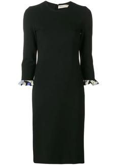 Emilio Pucci Black Fitted Dress with Alex Print Cuffs