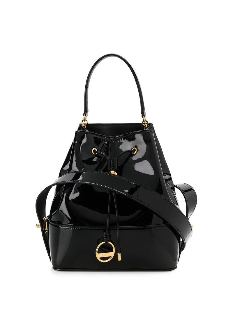 Emilio Pucci Black Patent Leather Bonita Bucket Bag