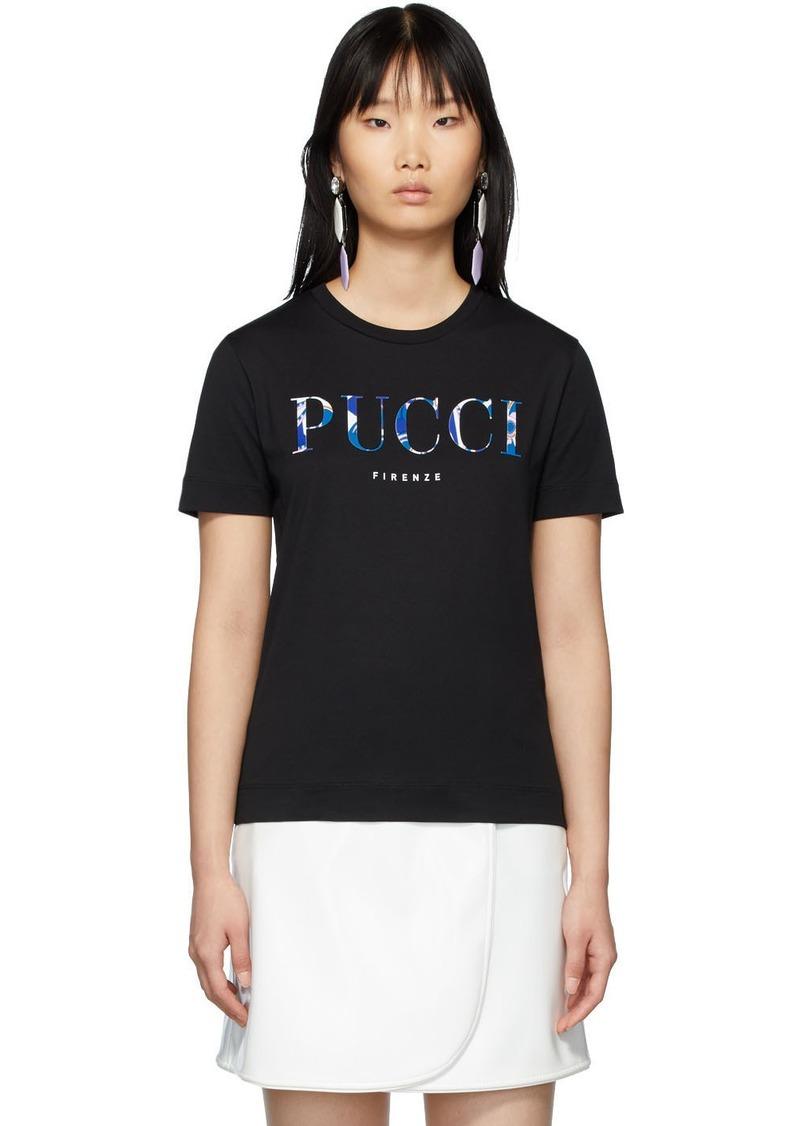 Emilio Pucci Black Printed Logo T-Shirt