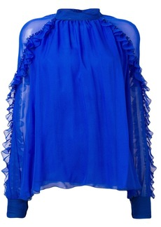 Emilio Pucci Blue High Neck Silk Ruffled Blouse