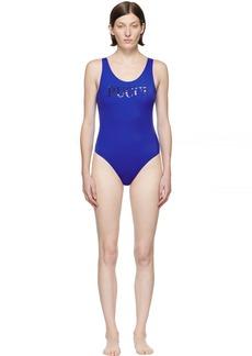 Emilio Pucci Blue Logo One-Piece Swimsuit