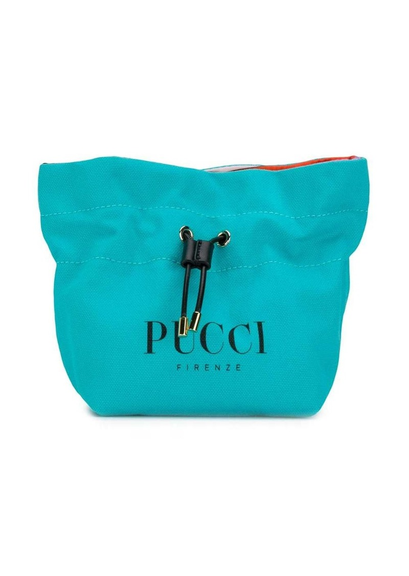 Emilio Pucci Blue Logo-Print Cotton-Canvas Beauty Case