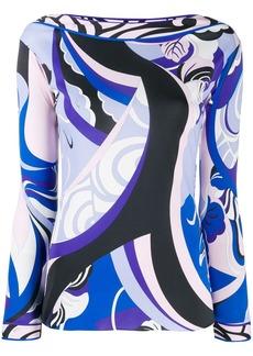 Emilio Pucci boat neck printed blouse