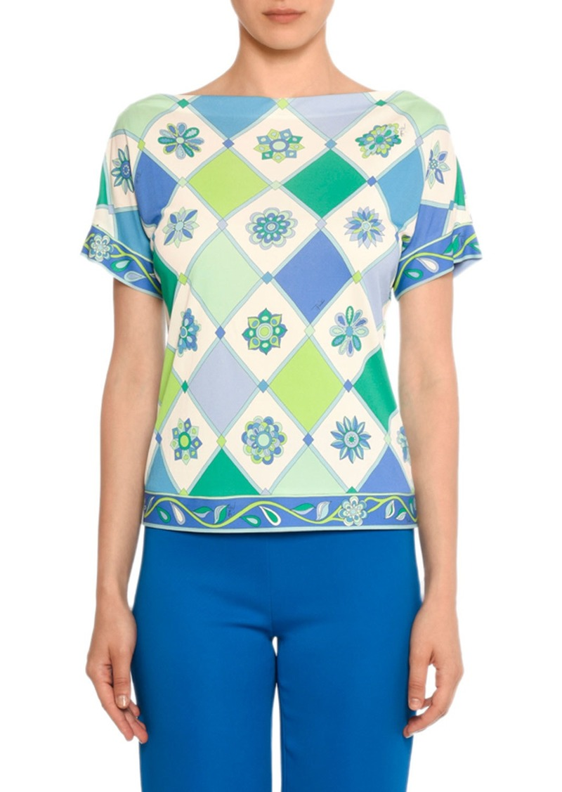 Emilio Pucci Boat-Neck Short-Sleeve Wallpaper-Print Silk-Blend Top