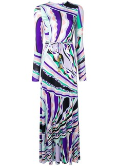 Emilio Pucci Burle Print Belted Silk Maxi Dress