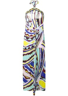 Emilio Pucci Burle Print Chain Halter-Neck Dress