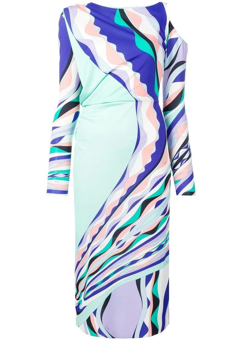 Emilio Pucci Burle Print Cold Shoulder Midi Dress