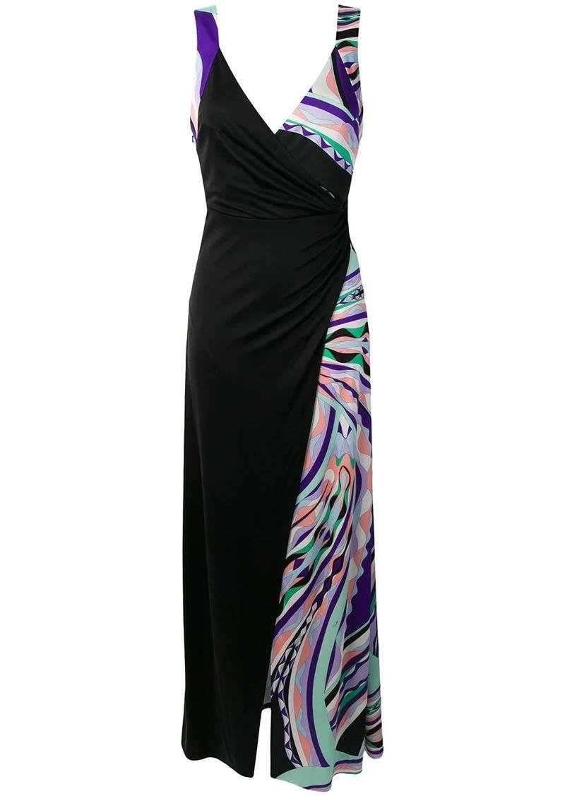 Emilio Pucci Burle Print Gathered Silk Maxi Dress
