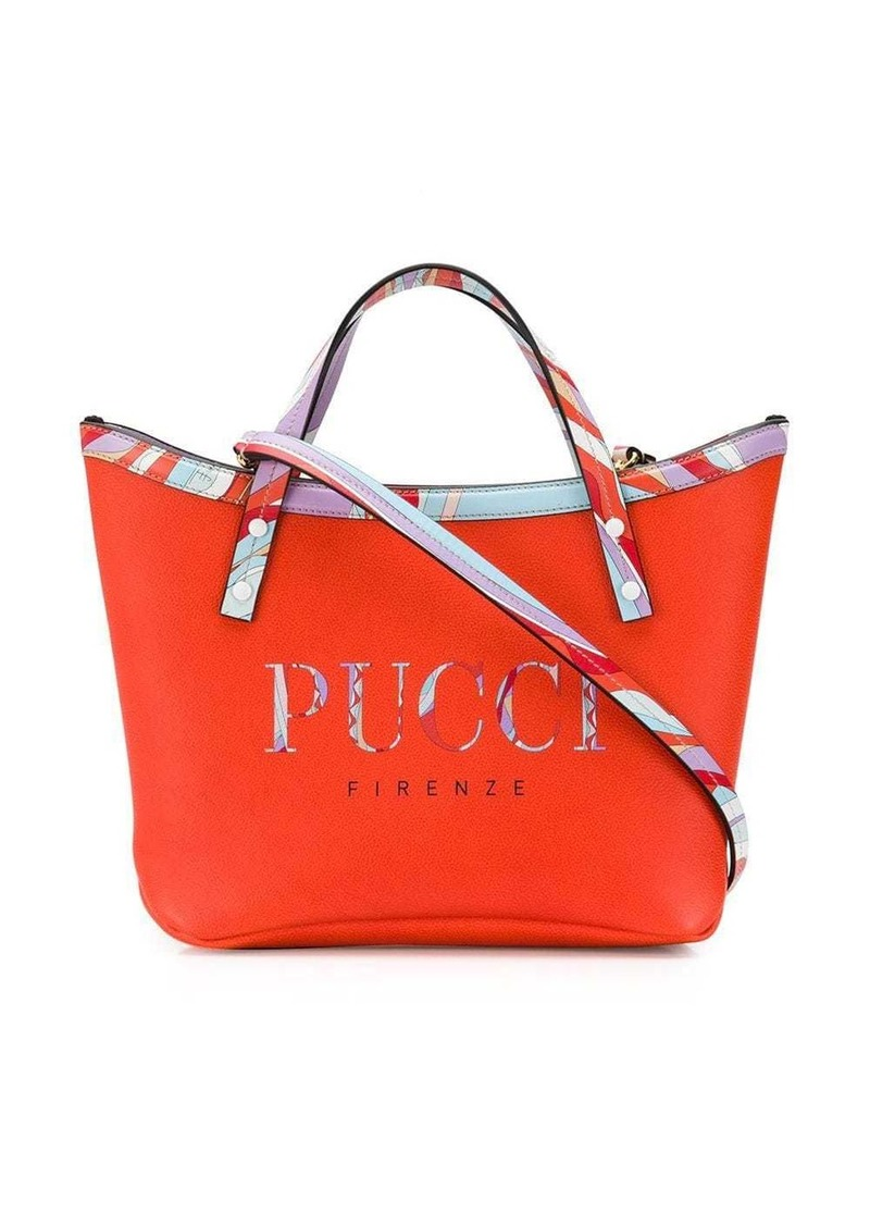 Emilio Pucci Burle Print Leather Twist Tote Bag