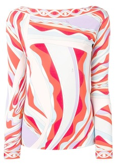 Emilio Pucci Burle Print Long Sleeved Top