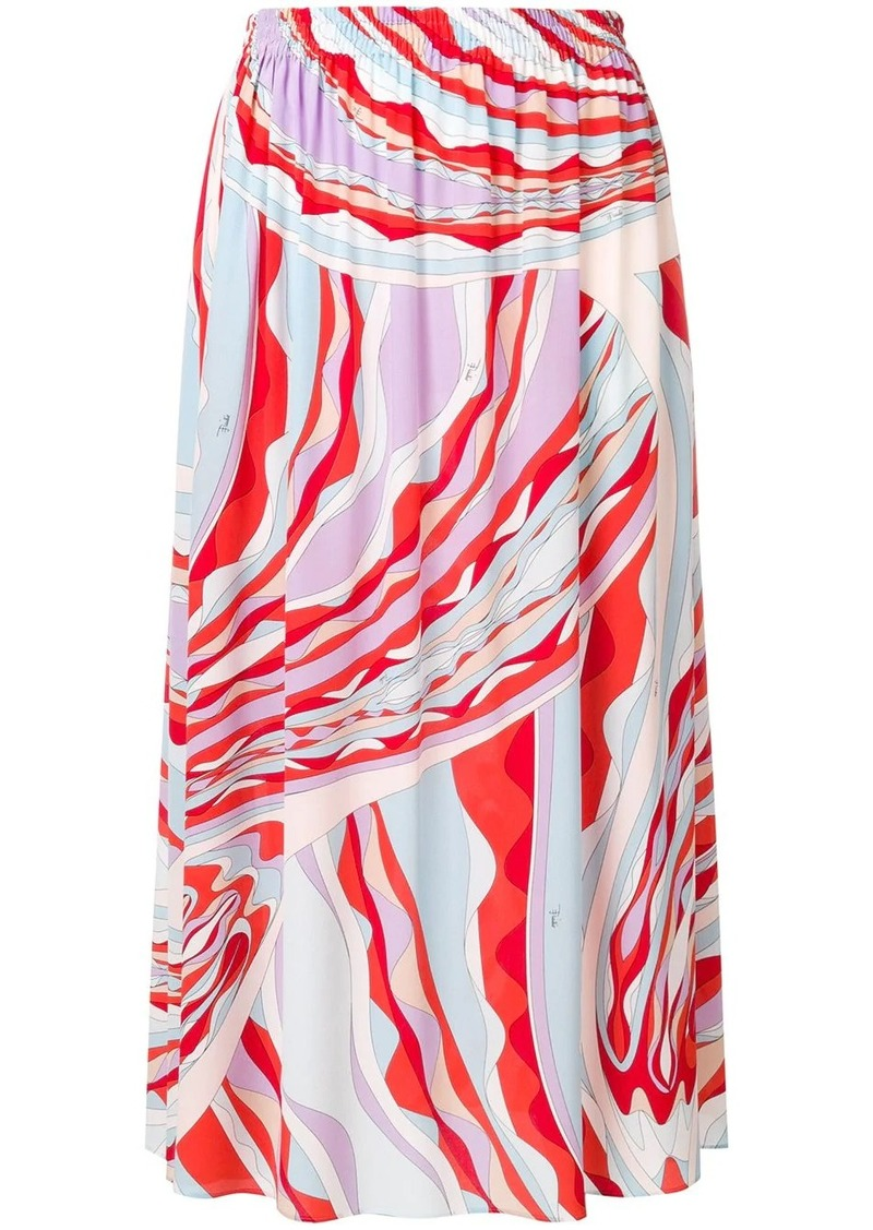 Emilio Pucci Burle Print Midi Skirt