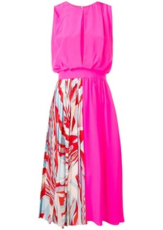 Emilio Pucci Burle Print Panelled Silk Midi Dress